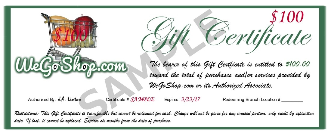 gift certificates wegoshop com grocery shopping and delivery service